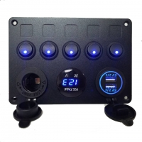 China Hot selling universal 4 gang cat eye switch panel 24V with dual USB charger for marine car truck wholesale