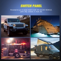 China 10 Gang Waterproof Car Automatic Boat Marine LED AC/DC Rocker Switch Panel with circuit breaker wholesale