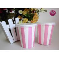 China 8 Ounce Single Wall Striped Cold Paper Cups Double PE Coated wholesale