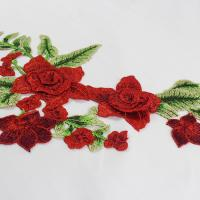 China 34*18 CM Red Flower Embroidered Applique Patches For DIY Dress Decorative wholesale