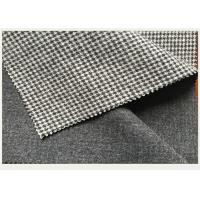 Causal Suit / Pants Houndstooth Tartan Wool Fabric Black And White 820g