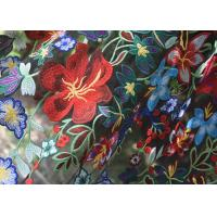 China Polyester Multi Colored Embroidered Floral Lace Fabric For Haute Couture wholesale