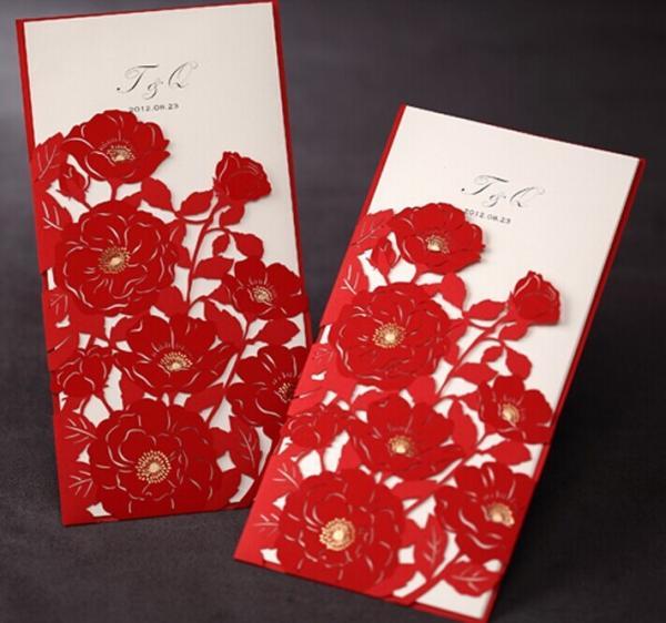 elegant flower wedding invitations red laser cut card