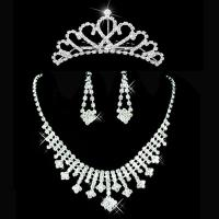 Quality Silver Grid Jewelry Necklace / Earrings Crown Bridal Wedding Accessories for sale
