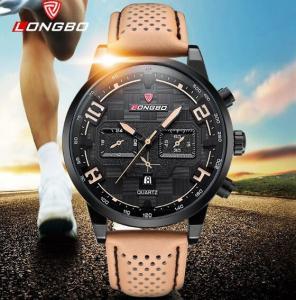 China Longbo Men Chronograph Calendar Leather Strap Quartz Wrist Watches 3006 wholesale