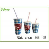 China Eco friendly Cold Paper Cups With Plastic Straw And Lid , Large Medium Small Size wholesale