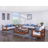 China High end quality 1+2+3 Solid wood Leisure sofa set by Fabric and density sponge upholstered seat cushion wholesale