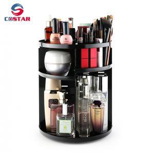 China Wholesale black 360 spinning rotating makeup stand organizer cosmetic storage display rack wholesale