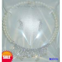 China Women's Coral Jewelry Beaded Pearl Necklaces with Rhinestone Main Stone for Party wholesale