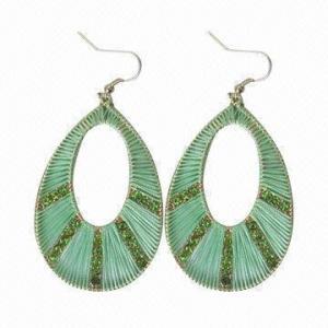 China Green Turmaline Diamond Earrings, Mint Silk Cord Thread wholesale