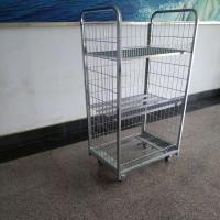 China Metal Wire Display Racks Roll Container Roll Cage Four Wheel For Warehouse on sale