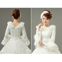 China Custom Elegant Embroidery White Cotton Wedding Dresses beaded for winter wholesale