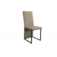 China Back Horizontal-line And Skirt-tailModern Upholstered Fabric Chair  Dining Room Chair  Black Powder Coated Steel Legs on sale