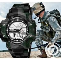 Quality SYNOKE Camouflage Green Men Waterproof 30m Chronograph Multifunction Pu Strap Wrist Watch 9438 for sale