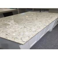 OEM Flora Bloom White Quartz Top , Premade Kitchen Countertops Polished Surface