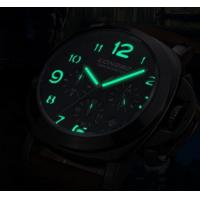 Quality LONGBO Chronometer Multifunction Three Dial Genuine Leather 5ATM Waterproof for sale
