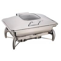 China Stainless Steel Cookwares Mechanical Hinge Induction Chafing Dish Full Size Food Pan 9.0Ltr Glass Window Lid on sale