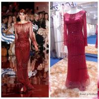 China Real Sample Charming Red Beaded Sheath Elie Saab Dresses For Sale Long Sleeves on sale