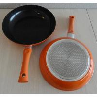 China Orange Aluminum Induction Cooktop Frying Pan With Black Ceramic Coated wholesale