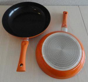 China Orange Aluminum Induction Cooktop Frying Pan With Black Ceramic Coated wholesale