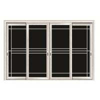 Quality Aluminum Double Sliding Glazed Doors / Tea Glass Double Slider Patio Doors for sale