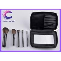 Quality Classical black handle travel makeup brush sets with mirror black striple bag for sale
