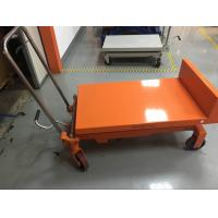China Portable Manual Tilting Scissor Lift Table Four Wheels Running For Warehouse wholesale
