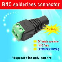 China Green DC female connector 5.5/2.1mm DC Power Jack Adapter Plug Cable Connector for cctv camera wholesale