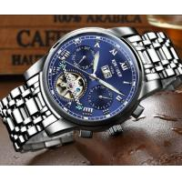 Quality Wholesale Men Full automatic mechanical  stainless steel blue flywheel watch With Month Week Date display JYD-J014 for sale