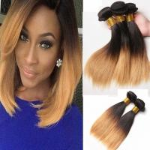 China Blonde Brazilian Straight Hair Weave Bundles Ombre Human Hair Bundles Two Tone 1b 27 Hair Weaving on sale