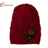 China Red Two Large Button Accent Knit Winter Hats with Acrylic Ribbed Brim wholesale