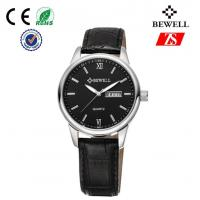 China Unisex Genuine Leather Strap Watch / Black Stainless Steel Watches on sale