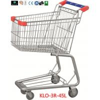 Promotional Chrome Plating Grocery Shopping Trolley 45L With Blue Plastic Handle