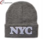 China Winter Ski Knitting Hat Beanie Embroidery Logo Acrylic With Folding wholesale