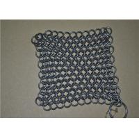 China 7*7 inch Stainless Steel Wire Mesh Scrubber / Chainmail Cast Iron Cleaner wholesale