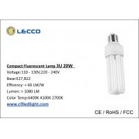 Buy cheap High Brightness Compact Fluorescent Lamps Cfl T4 20W Bulbs 3U Tricolor 8000h Lifetime from wholesalers