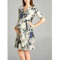 China Burgundy Floral Print Lace Maternity Wrap Dress Half Sleeve Wear Comfortable wholesale