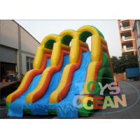 China Colorful Giant Three Lane Inflatable Slides For Outdoor Kids Party 0.55m PVC wholesale
