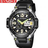 China Wholesale Synoke Men Dual Time Waterproof 50m PU Strap Chronograph Alarm Outdoor Sport Watch 9602 wholesale