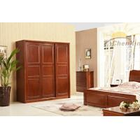 China Modern Dark Red Three Sliding Door Wardrobes Corrosion Resistant wholesale