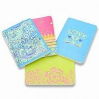 China Art Paper Cover Notebooks with Sewing Binding and Style Printing, Available in Red, Green and Blue wholesale