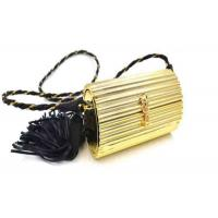 Ladies Earthly Solid Gold Coloured Clutch Bags With Black Pu Leather Tassel