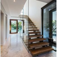 China Indoor prefabricated stairs wooden floating stairs wholesale
