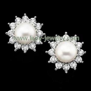 Crystal Pearl Earring Studs
