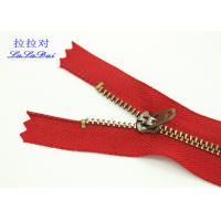 China 2 Top Stops Ykk Type Metal Teeth Zipper Close End Antique Brass Teeth  For Jeans wholesale