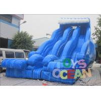China Blue Wave 3 Lanes Backyard Inflatable Water Slides Fashion For Summer Kids wholesale