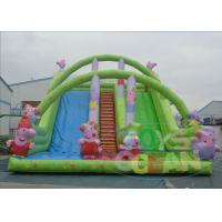 China Outdoor Double Huge Inflatable Slides For Rental Green Waterproof wholesale