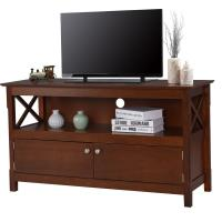 China Large Living Room Wooden Television Stands With Open Shelf / X Side Cabinets wholesale