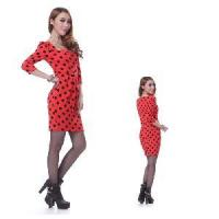China Black Spotted High Fashion Red Dress wholesale