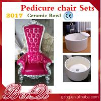 China 2017 hot sale king throne pedicure chair with round pedicure bowl , Pink spa pedicure chairs for sale wholesale